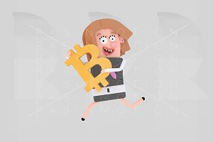 Girl running holding bitcoin symbol.
