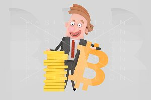 Businessman  posing with bitcoin sym