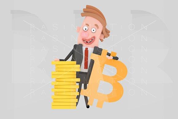 Businessman Posing With Bitcoin Sym