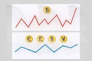 Fluctuaction bitcoin. Money  graph.