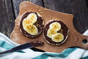 Rice cakes breakfast chocolate banana