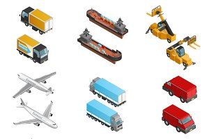 Cargo transport isometric icons set