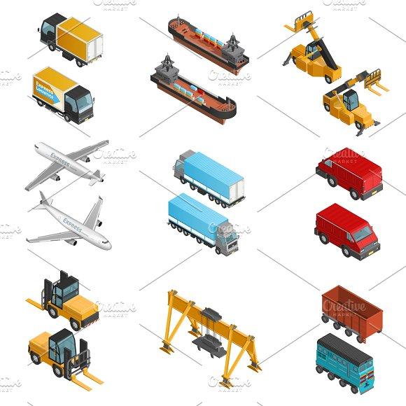 Cargo Transport Isometric Icons Set