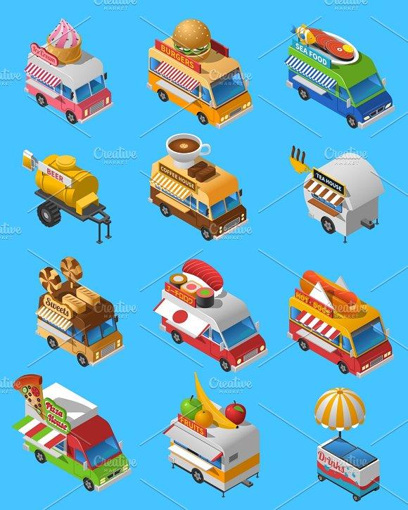Street Food Trucks Isometric Icons