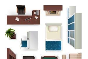 Modern interior furniture objects