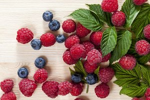 raspberries in summer