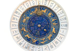 Clock from zodiac astronomical Tower
