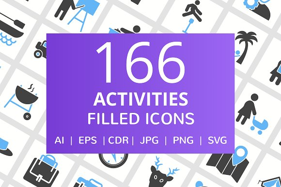 166 Activities Filled Icons