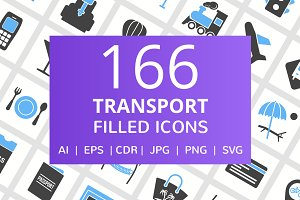 166 Transport Filled Icons