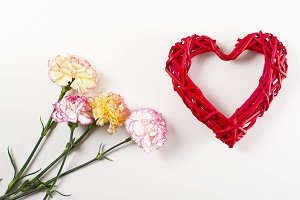 White and pink flower background next to yellow flowers and a heart on white background. Copy space. Mockup.