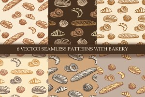 6 seamless patterns with bakery