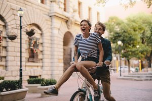 Couple enjoying a bicycle ride