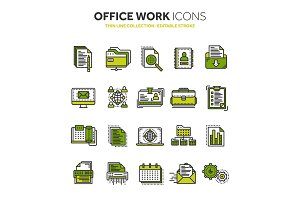 Business and office work. Documents, paperwork. Businessman. Thin line black web icon set. Outline icons collection. Vector illustration.
