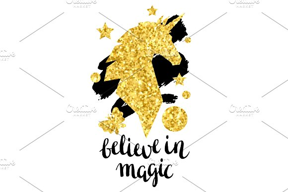 Card With Fantasy Unicorn And Gold Glitter Texture