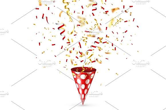 Party Shiny Hat With Ribbon And Confetti Holiday Decoration.Celebration.Birthday.Vector Illustration On White Background Set