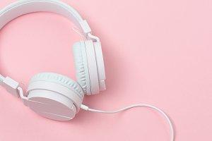 Stock Photo - Headphones on Pink