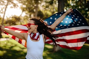 American woman with national flag