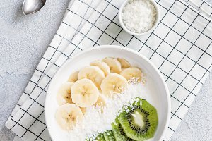 Yogurt bowl with tropical fruits