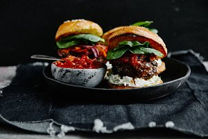 Burgers with grilled beef patties
