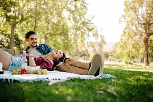 Affectionate couple on picnic