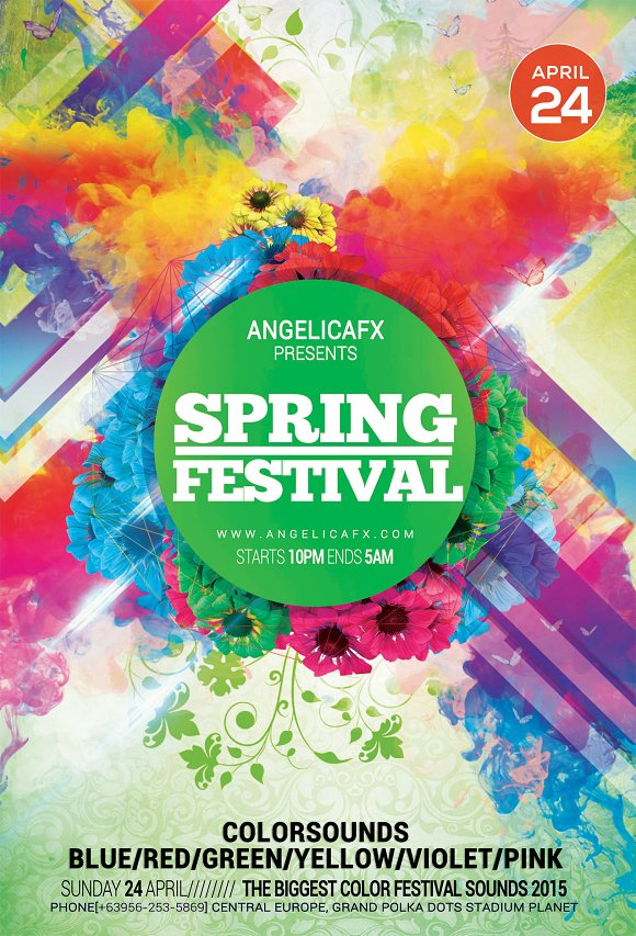 spring sounds flyer template flyer templates creative market