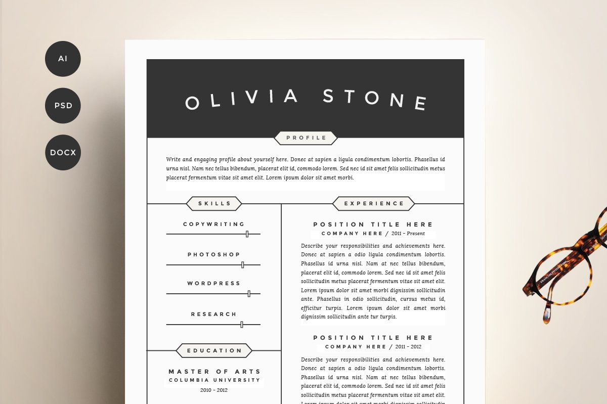 resume template 4 pack cv template - Resume Template Ideas