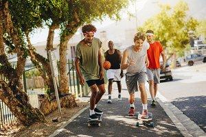 Men skating on skateboard