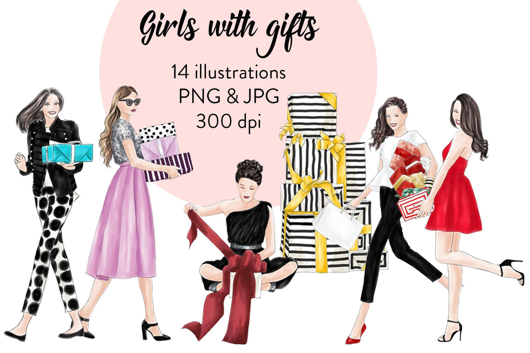 Girls With Gifts Pre Designed Photoshop Graphics Creative Market