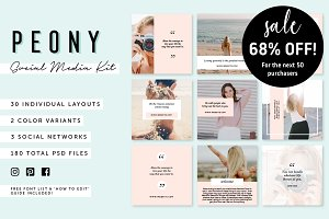 SALE! Peony: Social Media Kit