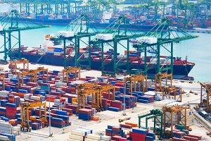 Cargo ship Singapore industrial port