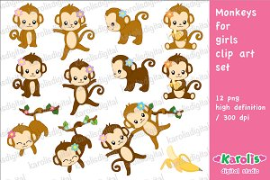 Monkeys for girls / clip art set