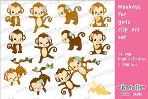 Monkeys for girls / clip art set