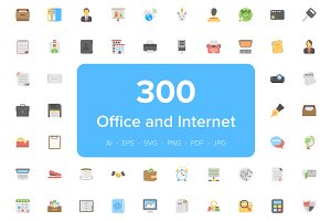 300 Office and Internet Flat Icons