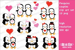 Penguins love / clip art set