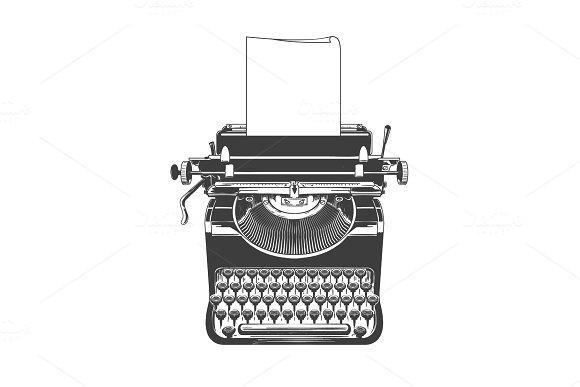 Typewriter Vintage Machine Sketch