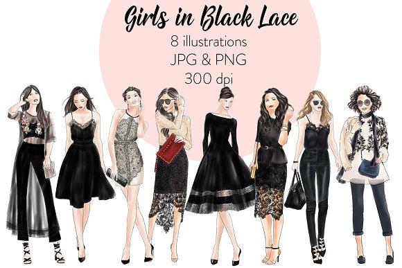 Girls in Black Lace - Light Skin