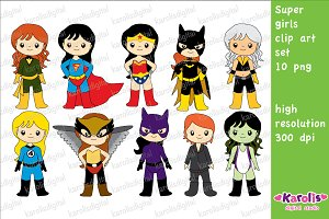 Superhero girls / clip art set