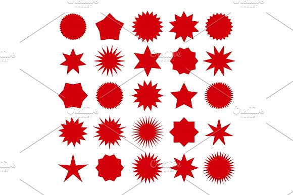 Red Star Burst Shapes