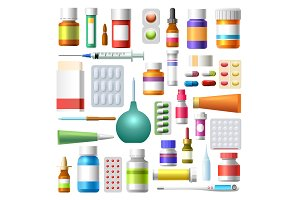 Medicine drugs and pharmacy bottles