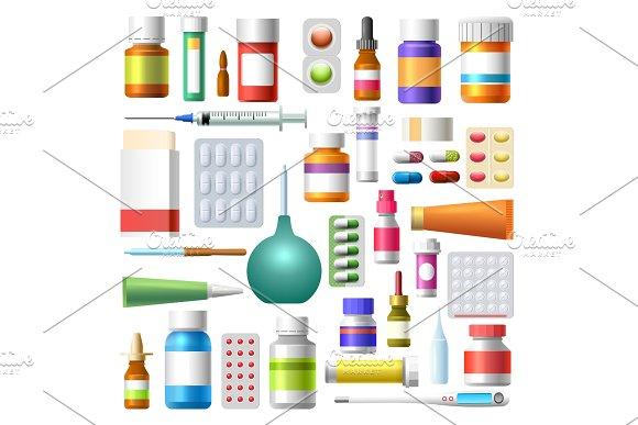 Medicine drugs and pharmacy bottles