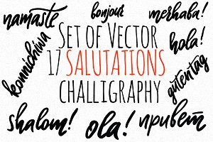 17 Vector greetings challigraphy