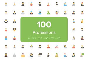 100 Flat Professions Avatar Icons
