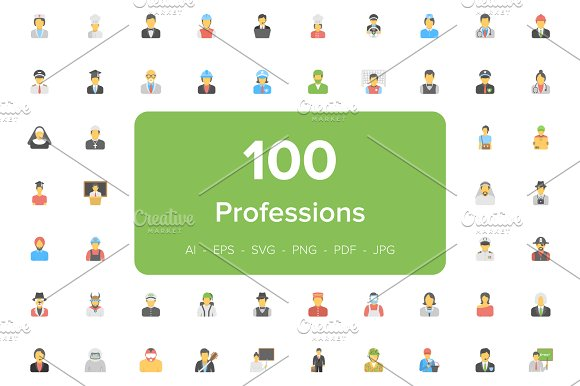 100 Flat Professions Avatar Icons