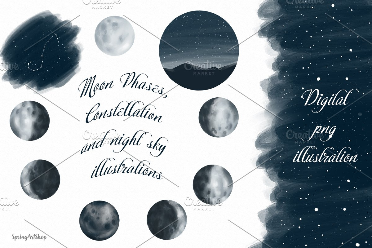 Moon Phases and Constellation ~ Illustrations ~ Creative Market