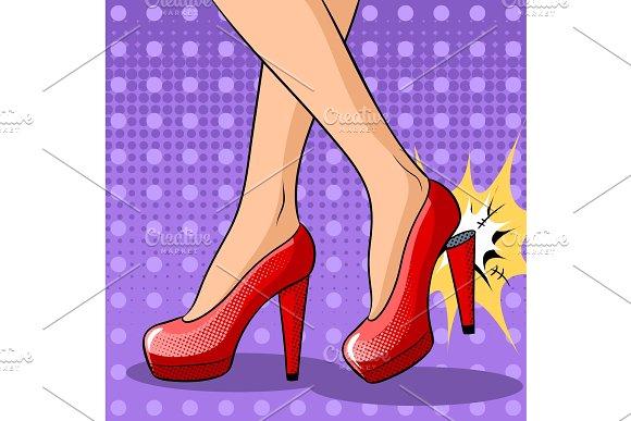Woman Broke Heel On Her Red Shoes Pop Art Vector