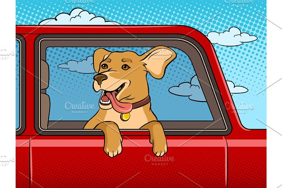 Dog In Car Window Pop Art Vector Illustration