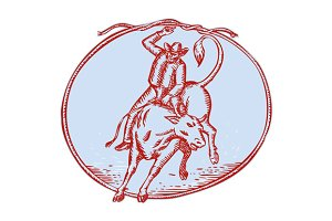 Rodeo Cowboy Bull Riding Circle Etch