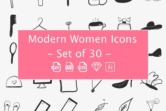 Modern Women Hand Drown Icons