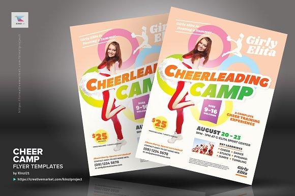 cheer camp flyer templates flyer templates creative market
