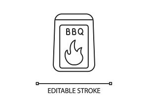 Barbeque coal linear icon